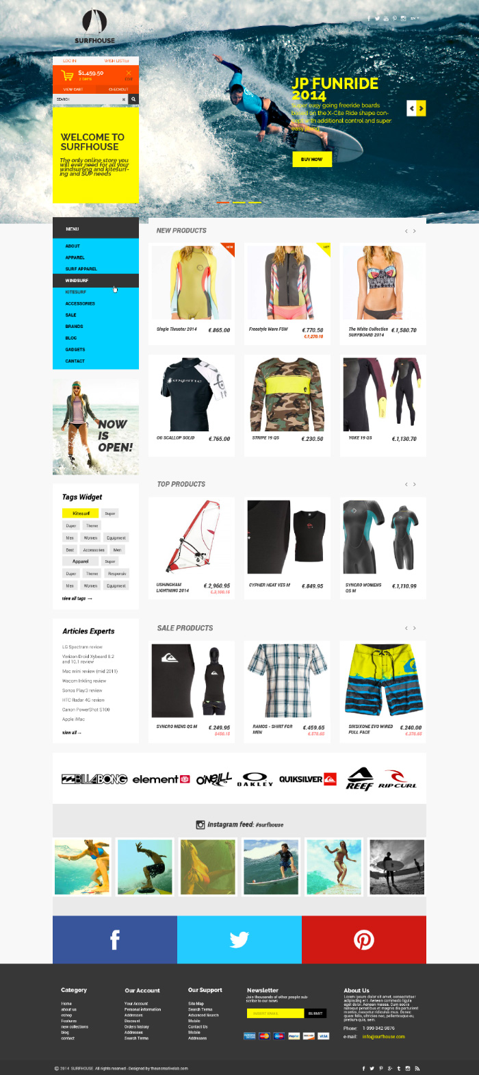 e commerce sites templates - surfhouse psd template the uncreative lab